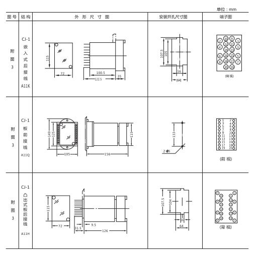 DT-1/200同步检查继电器外形及开孔尺寸
