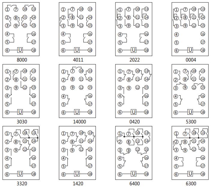 DZ-700-8000中间继电器内部接线图及外引接线图