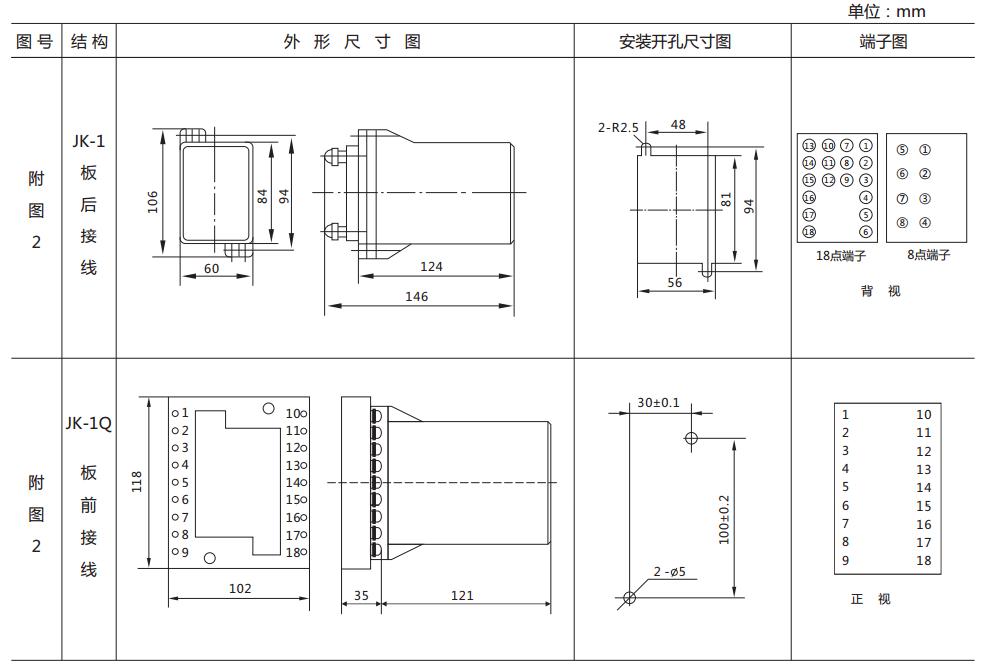 DZ-700-8000中间继电器外形及开孔尺寸